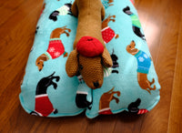 Holiday Dachshunds in Sweaters on Blue Fleece Bunbed, Dog Bed, Hot Dog Bun bed