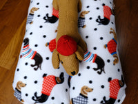 Holiday Dachshunds on White with Red Bunbed, Dog Bed, Hot Dog Bun bed