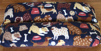 Dogs on Navy Blue Fleece Bunbed, Dachshund Burrowing Dog Bed, Hot Dog, Bun Bed