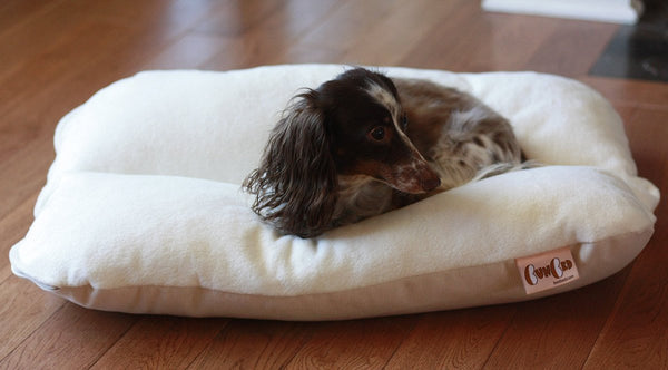 Natural White Ivory Plush Fleece Bunbed Dog Bed, Small Hot Dog Bun Bed