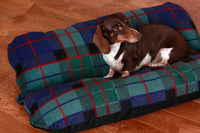 Dog Bed, Dark Plaid Fleece, Dachshund Dog Bed, Burrow Bed, Hot Dog Bed, Bun Bed, Blue Dog Bed