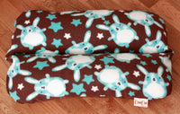 Dachshund Small Dog Bed, Bunbed, Cute Blue Bunny Bunnies on Brown Fleece, Hot Dog Bun bed