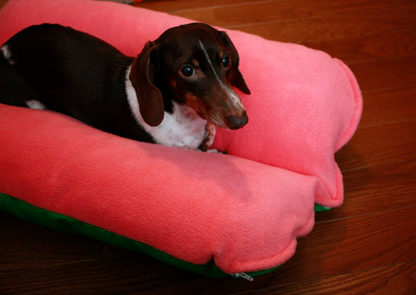 Pink Fleece and Retro Green, Bunbed Dachshund Dog Bed, bright 70s colors, Hot Dog Bun Bed