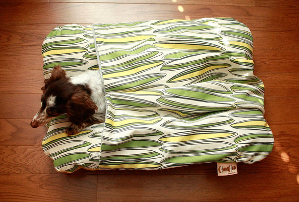 Surfboard Green Yellow Modern Bunbed, Dachshund Dog Bed, with COVER Burrow Snuggle Sack Pocket Small Bun Bed