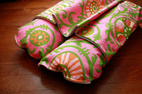 Pink Green Tropical Vines Bunbed with Pocket Cover, Burrow Snuggle Sack Hot Dog Bun Bed