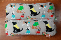 Dogs in Sweaters on Gray Fleece Bunbed, Lab Chihuahua Yorkie print, Hot Dog Bun Bed