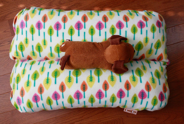 Leaves in Pink Green Yellow Bunbed, Dachshund Dog Bed, Bun bed, Hot Dog bed