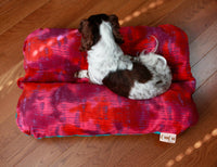 Tie Dye Batik Pink Red Orange Teal Fleece Bunbed, Hippie Hot Dog Bun Bed