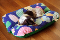 Mushrooms Butterfly Retro 70s Blue Fleece Green Bunbed dog bed, Burrow Hot Dog Bun bed