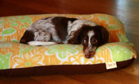 Bunbed, Yellow Green Retro Mod Flowers Fleece, Mid Century Hot Dog Bun Dachshund Dog Bed