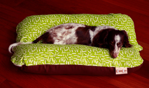 Green Confetti Sprinkles Bunbed, Dachshund Hot Dog Bun Snuggle Bed, Mid Century Design