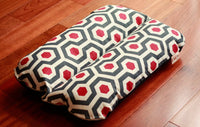 Black Red Geometric Hex Print Bunbed Dog Bed for Dachshunds & small dogs