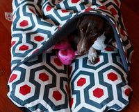 ~Cover Only~ Red Black Geometric Fleece, Bunbed Dachshund Dog Bed, with cover Burrow Snuggle Sack Pocket Small Bun Bed