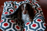 Red Black Geometric Fleece, Bunbed Dachshund Dog Bed, with cover Burrow Snuggle Sack Pocket Small Bun Bed