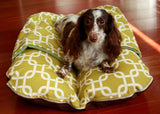 Modern Green Squares and Sage Fleece, Pocket Snuggle Dachshund Hot Dog Bun Bed