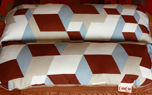 Geometric Cubes Modern Dog Bed Tan Blue Brown, Bunbed