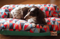 Modern Geometric Multi Color Triangles and Emerald Green Bunbed, Dachshund hot dog bun dog bed