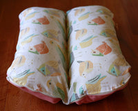 Birds in Pastel Pink Orange Yellow Bunbed Dog Bed, Dachshund Burrow Hot Dog Bun Bed