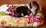 Large Flowers Green Purple Plush Fleece & Modern Green Squares, Bunbed, Dachshund Hot Dog Bun Bed