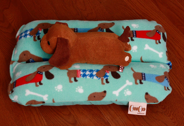 Mini Bunbed for Dachshunds, Small Cat Bunny Rabbit Guinea Pig Pet Dog Bed Aqua Dachshund Sweater Blue Fleece Print, Aqua Canvas