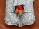 Gray Pale Blue Flowers Modern Bunbed, Dachshund Dog Bed, COVER Burrow Snuggle Sack Pocket Bun Bed