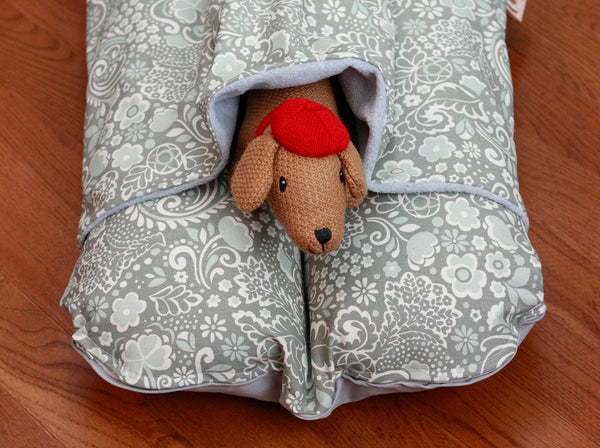 Gray Pale Blue Flowers Modern Bunbed, Dachshund Dog Bed, with COVER Burrow Snuggle Sack Pocket Small Bun Bed