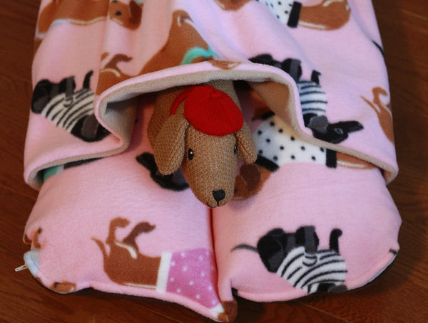 pink bunbed with dachshund print