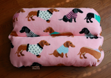 Dachshunds in Sweaters on Pink Fleece Bunbed, Dog Bed, Hot Dog Bun bed