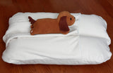 White Ivory Fleece Winter Dachshund Bunbed Dog Bed, cover Burrow Snuggle Sack Pocket Bun Bed