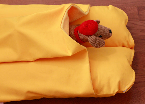 Yellow Bunbed Dog Bed with Dachshund Plush in Pocket