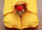 Bright Yellow Bunbed Dog Bed with Dachshund Plush