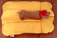 small yellow dog bed (bunbed) with a pocket for burrowing