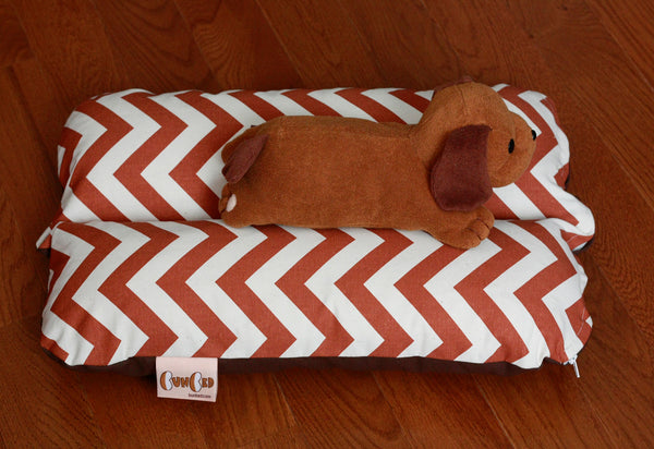 Mini Bunbed - Zig Zag Chevron Autumn Orange Copper Small Cat Bunny Rabbit Guinea Pig Pet Dog Bed Cotton Canvas