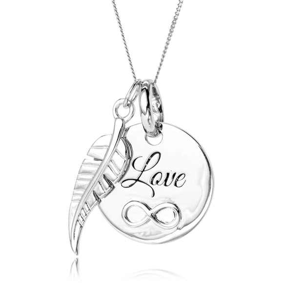 'Love Infinity & Feather' 925 Sterling Silver Pendant - Ruby Jade Jewellery