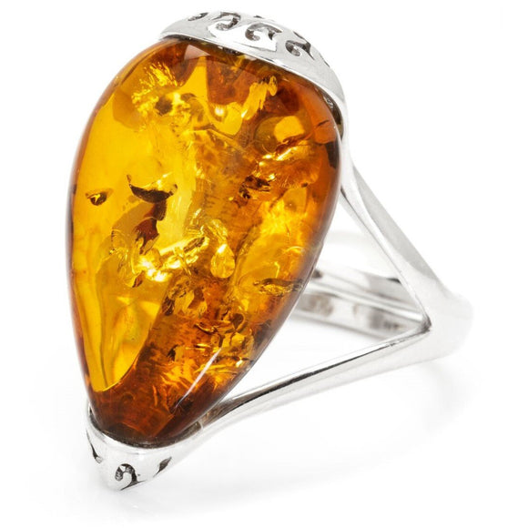 Baltic Amber Ring set in Sterling Silver - Ruby Jade Jewellery