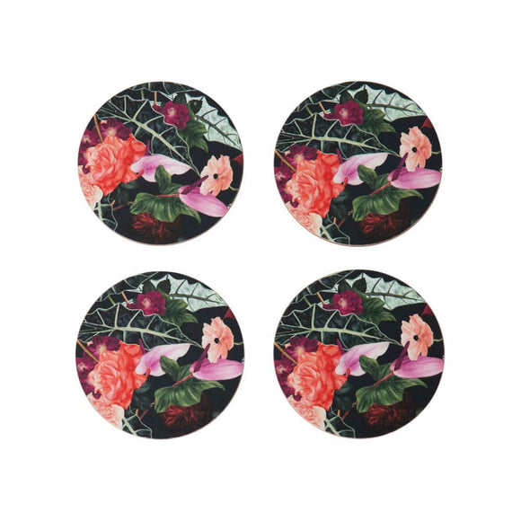Coasters – Hibiscus Garden – Set of Four - Ruby Jade Jewellery