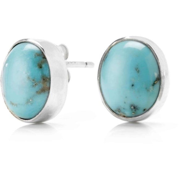 Natural Turquoise Oval Earrings Set in Sterling Silver - RubyJade