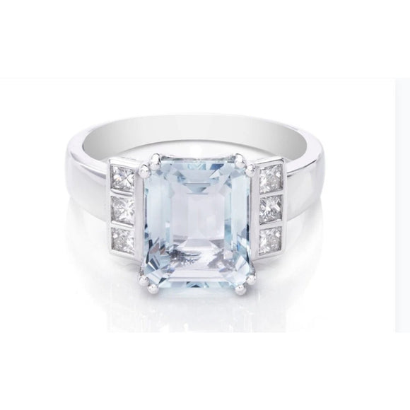 Aquamarine and Diamond Ring 9ct White Gold (10x8mm) - RubyJade