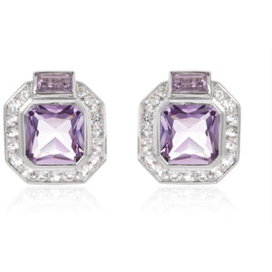 Amethyst Art Deco Earrings Set in 925 Sterling Silver - Ruby Jade Jewellery