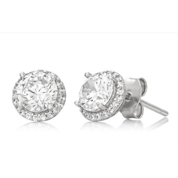 Cubic Zirconia Halo Earrings Set in 925 Sterling Silver (6 mm) - Ruby Jade Jewellery