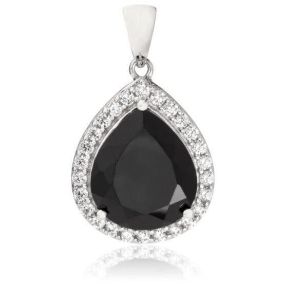 Black Spinel & Cubic Pendant set in Sterling Silver (14x12mm) - RubyJade