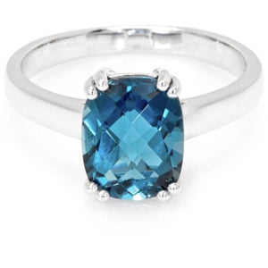 London Blue Topaz in Sterling Silver Ring (10 x 8 mm) - Ruby Jade Jewellery