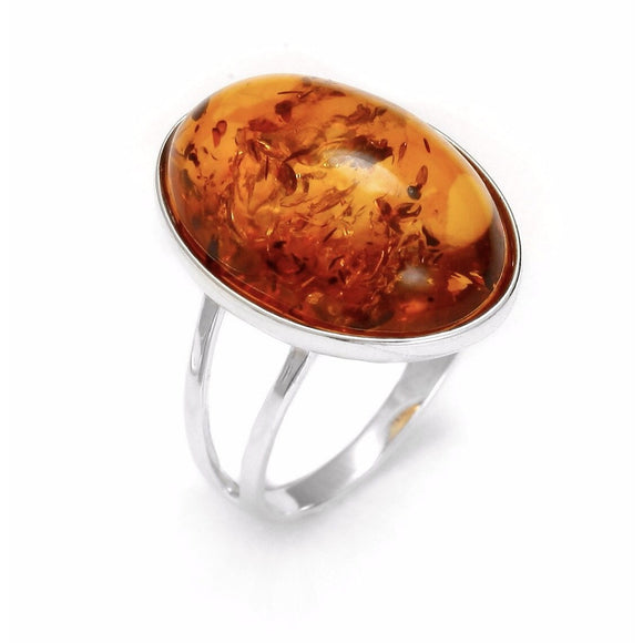 Genuine Baltic Amber Ring in 925 Sterling Silver (20 x 15 mm) - RubyJade
