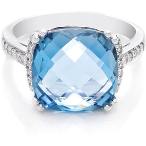 Swiss Blue Cushion Cut and Diamond Ring - Ruby Jade Jewellery