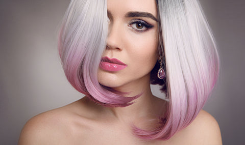 woman with a pink and grey bob