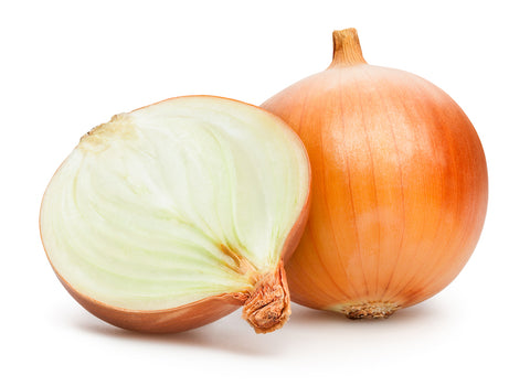 white onion sliced in half