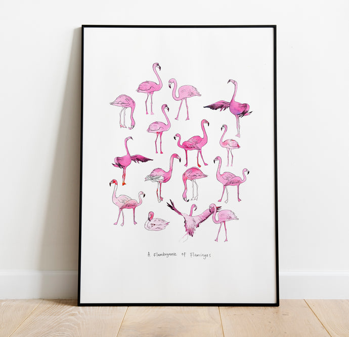 Flamboyance of Flamingos A4 Art Print