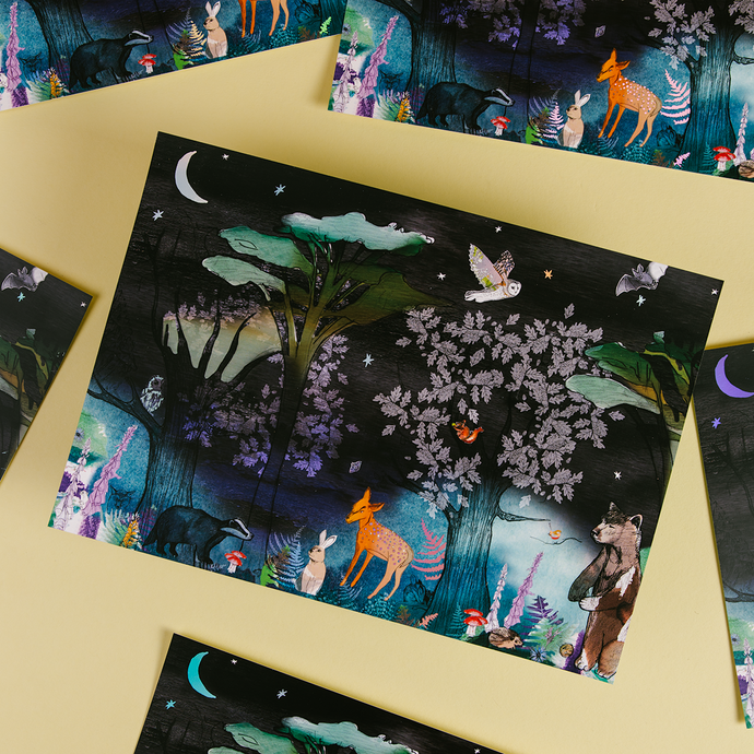 Magical Woodland A4 Foiled Art Print