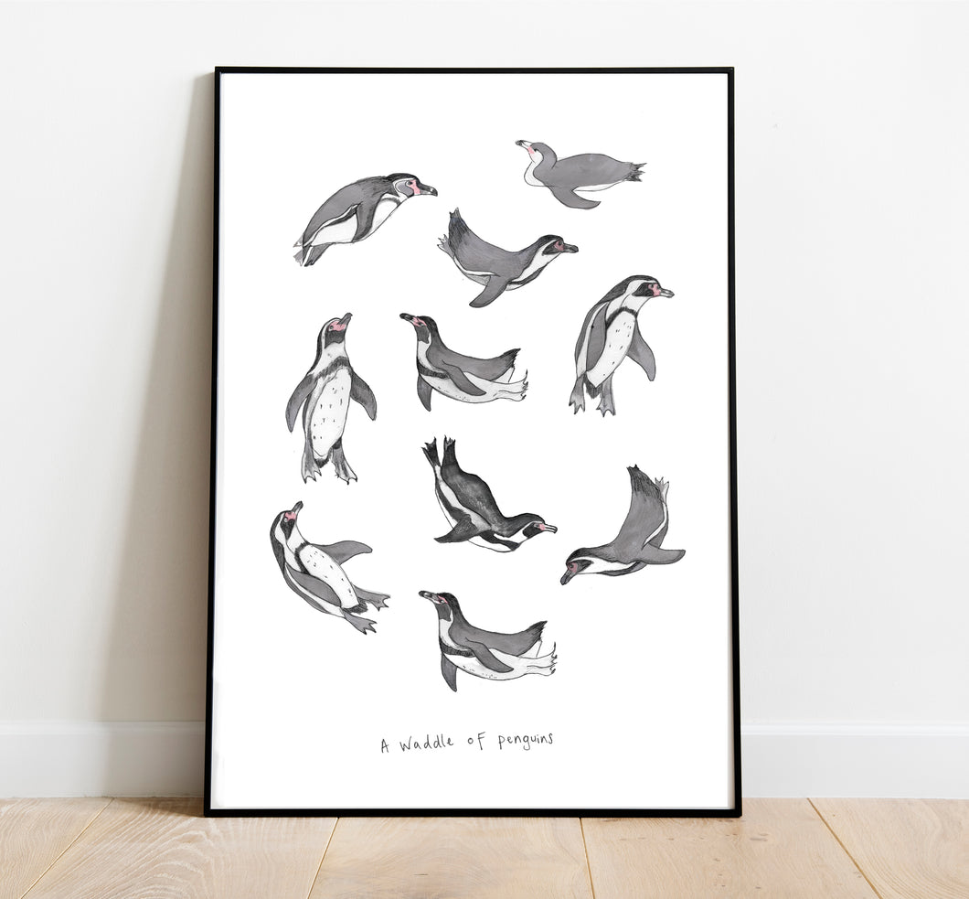 Waddle of Penguins A4 Art Print