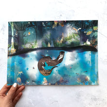 A4 River Otters Foiled Art Print